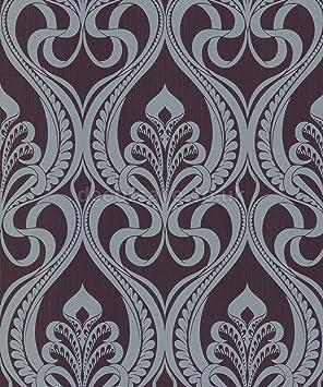 Grandeco 113001 Papier Peint Damas Art Nouveau Dore Gris