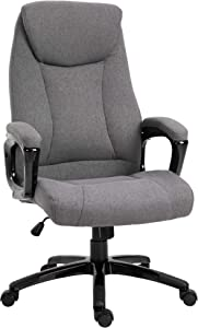 Vinsetto Ergonomic Gaming Adjustable Height Linen Fabric Officer Chair with 360° Swivel, Rocking & Rolling Design