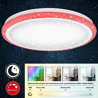 Briloner Leuchten LED Deckenleuchte mit Sternendekor, dimmbar, Fernbedienung, Farbtemperatursteuerung, Nachtlichtfunktion, Deckenlampe 24W, 1800