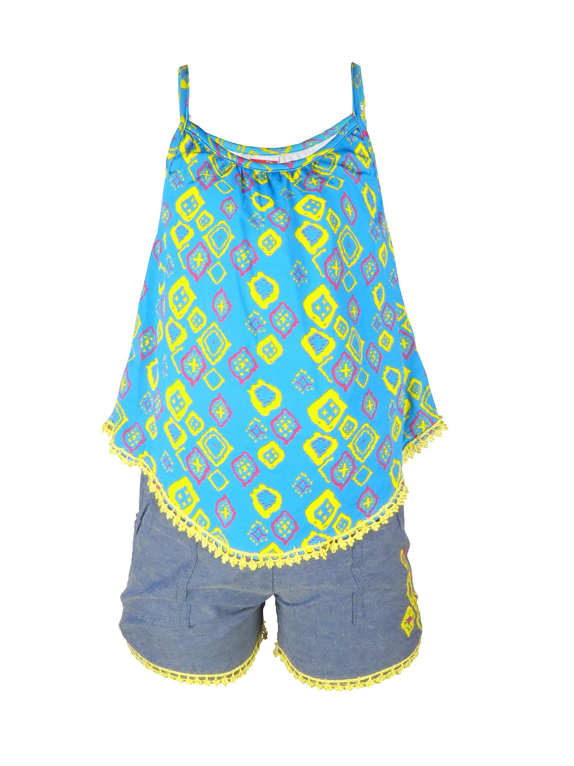 Crush Girls Printed Romper with Denim Shorts Bottom Turquoise Size 10/12