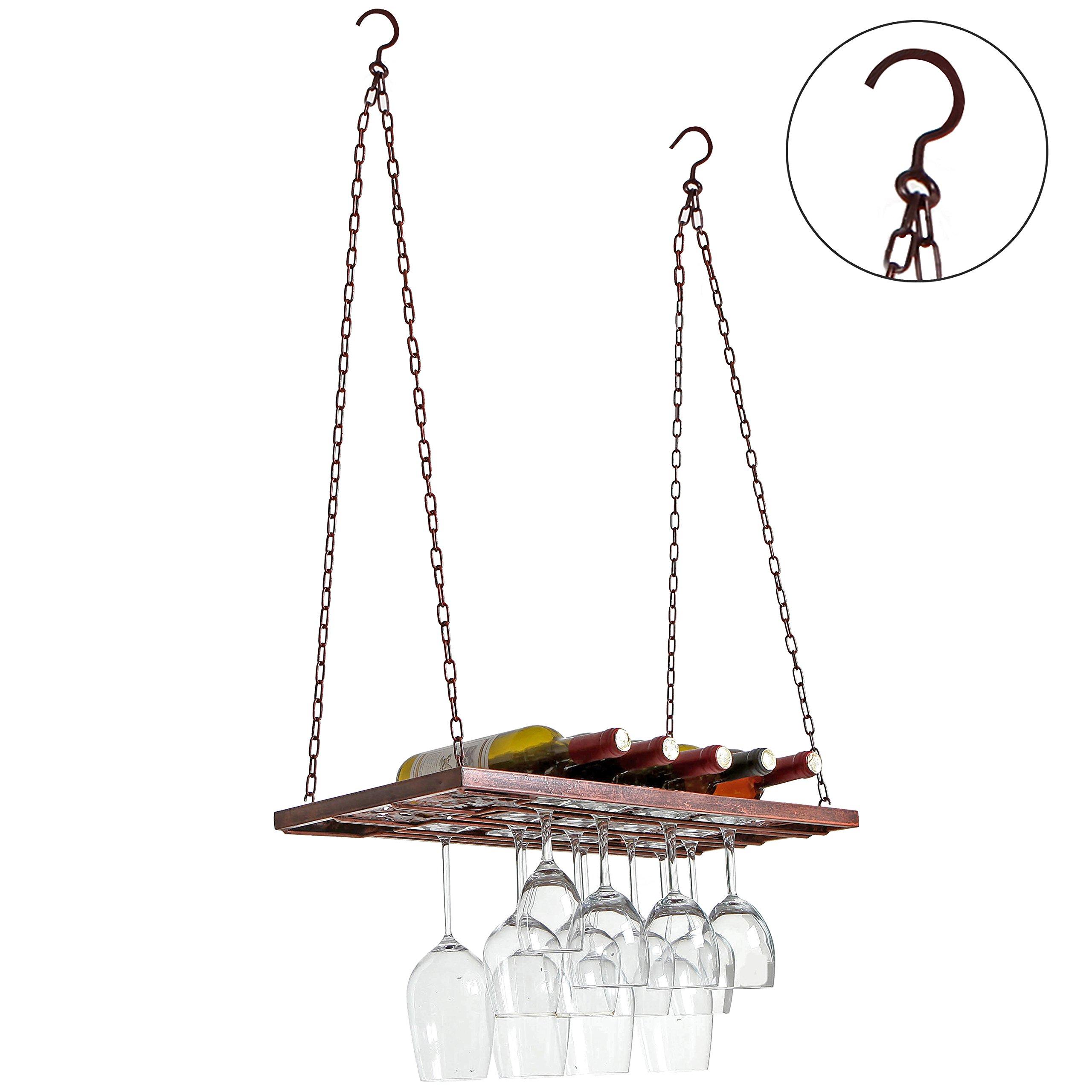 Vineyard Country Rustic Bronze Metal Ceiling Mounted Hanging Stemware Wine Glass Hanger Organizer Rack by MyGift (Image #1)