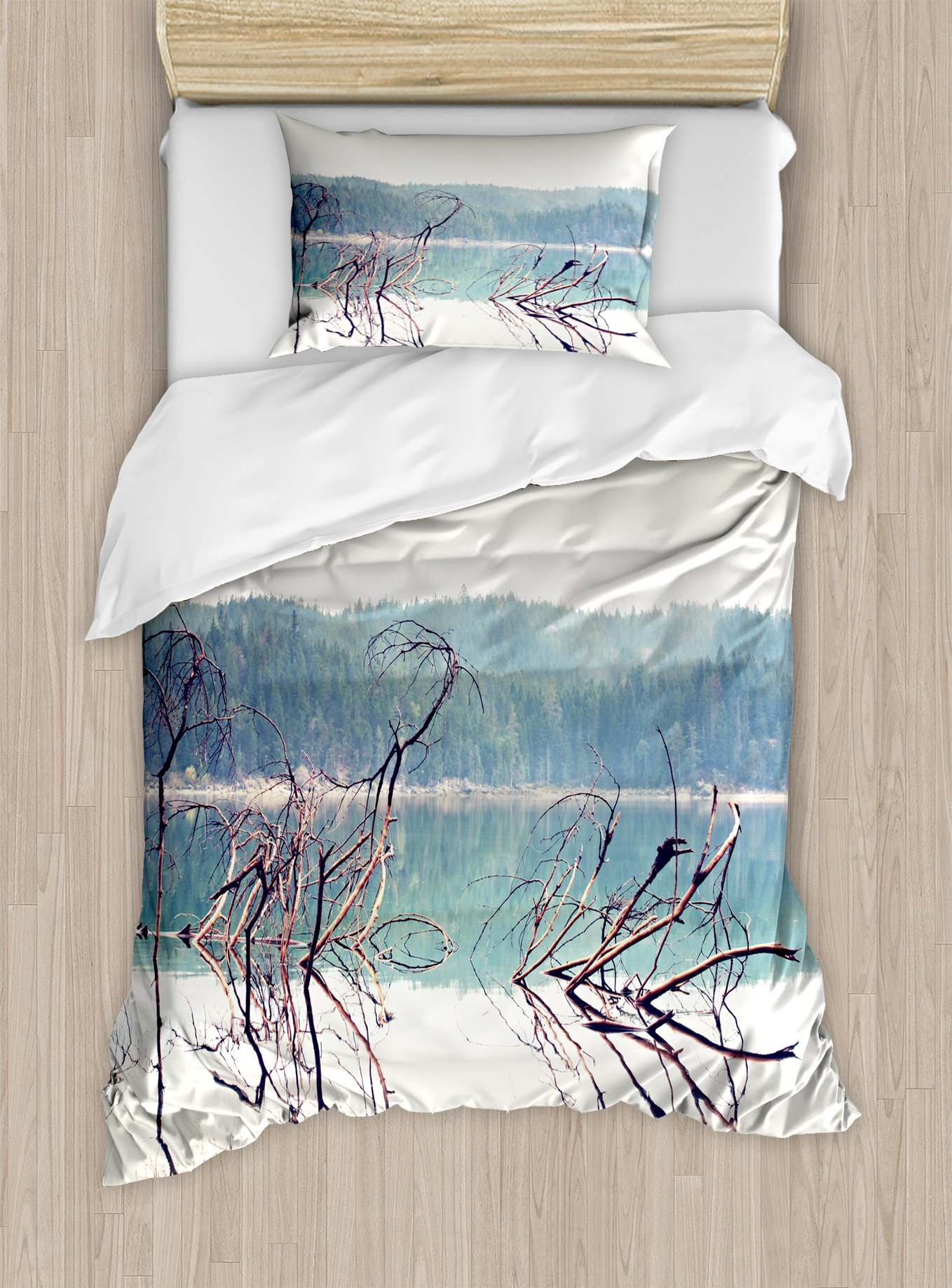 Ambesonne Driftwood Duvet Cover Set Twin Size, Nature Theme Branch of The Fallen Tree Near The Mountain Lake and The Forest, Decorative 2 Piece Bedding Set with 1 Pillow Sham, Cream Green