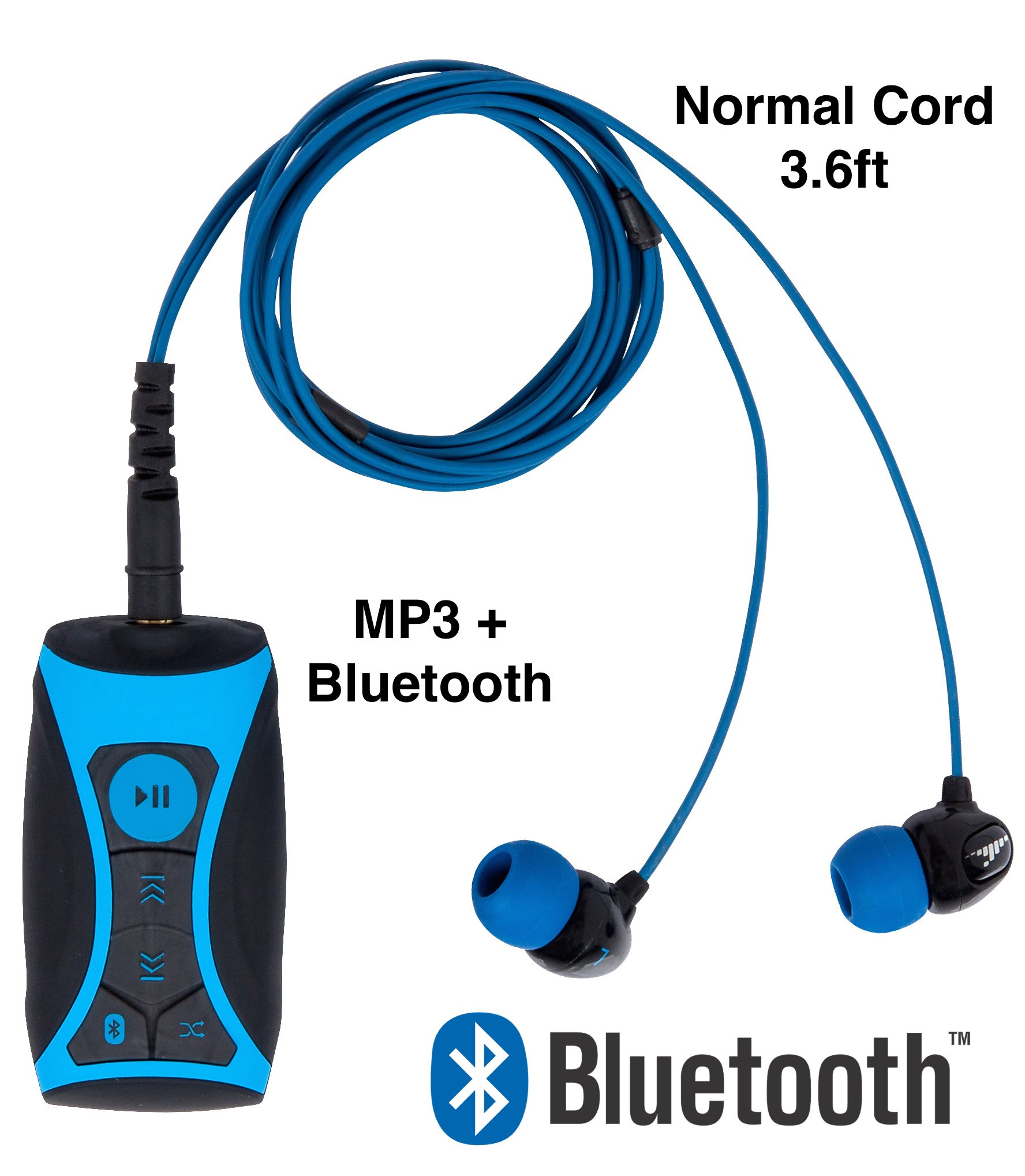 100% Waterproof Stream MP3 Music Player with Bluetooth and Underwater Headphones for Swimming Laps, Watersports, Normal Cord, 8GB – By H2O Audio