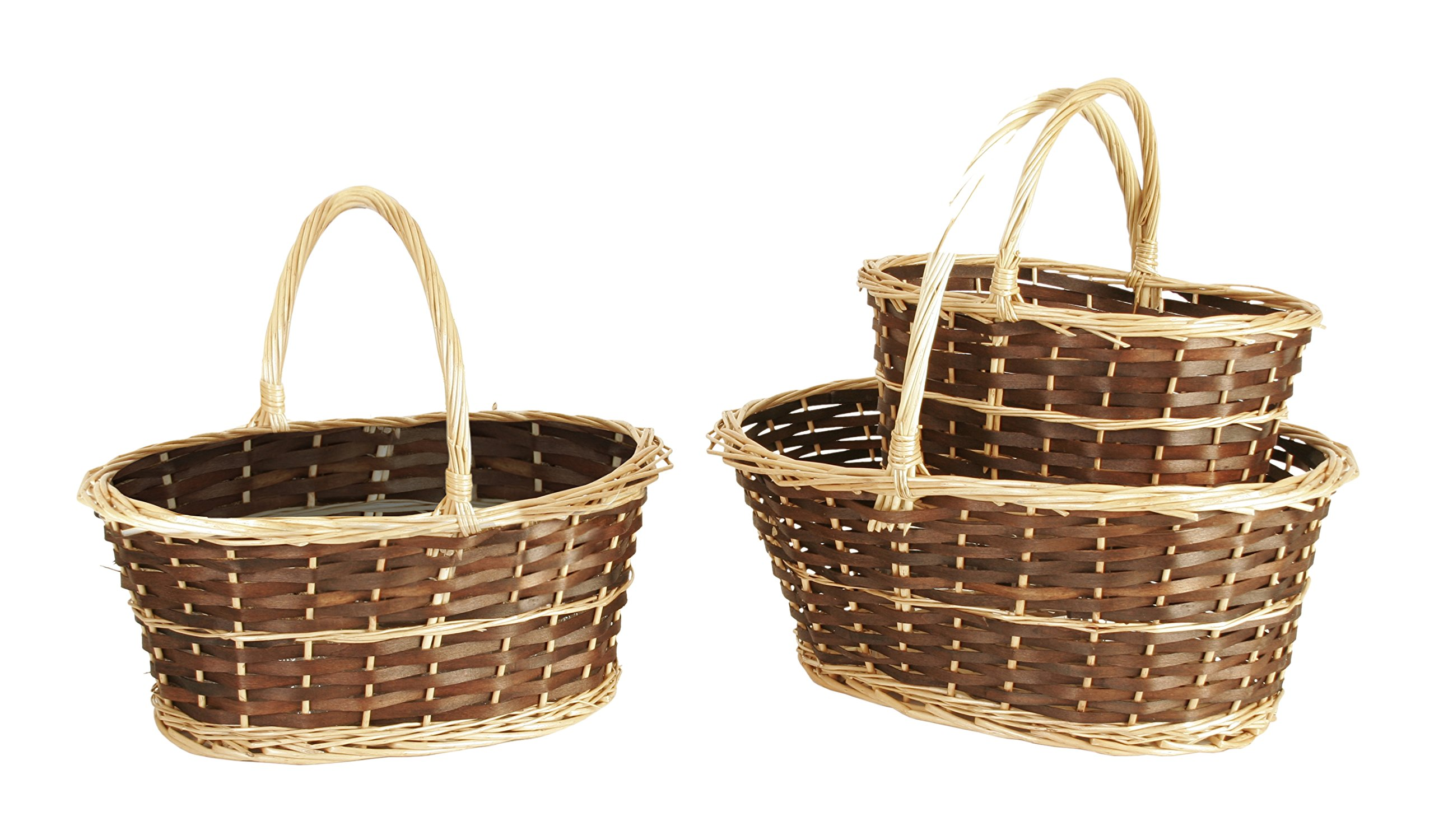 Wald Imports Brown & Beige Willow Decorative Nesting Storage Baskets, Set of 3 - Two-tone willow baskets, dark stained body with natural finish edging & handles Hand woven from natural materials Nested set of 3 baskets - living-room-decor, living-room, baskets-storage - 819aecAjuYL -
