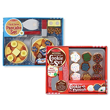 Melissa Doug Flip And Serve Pancake Set With Slice And Bake Cookie Set Wooden