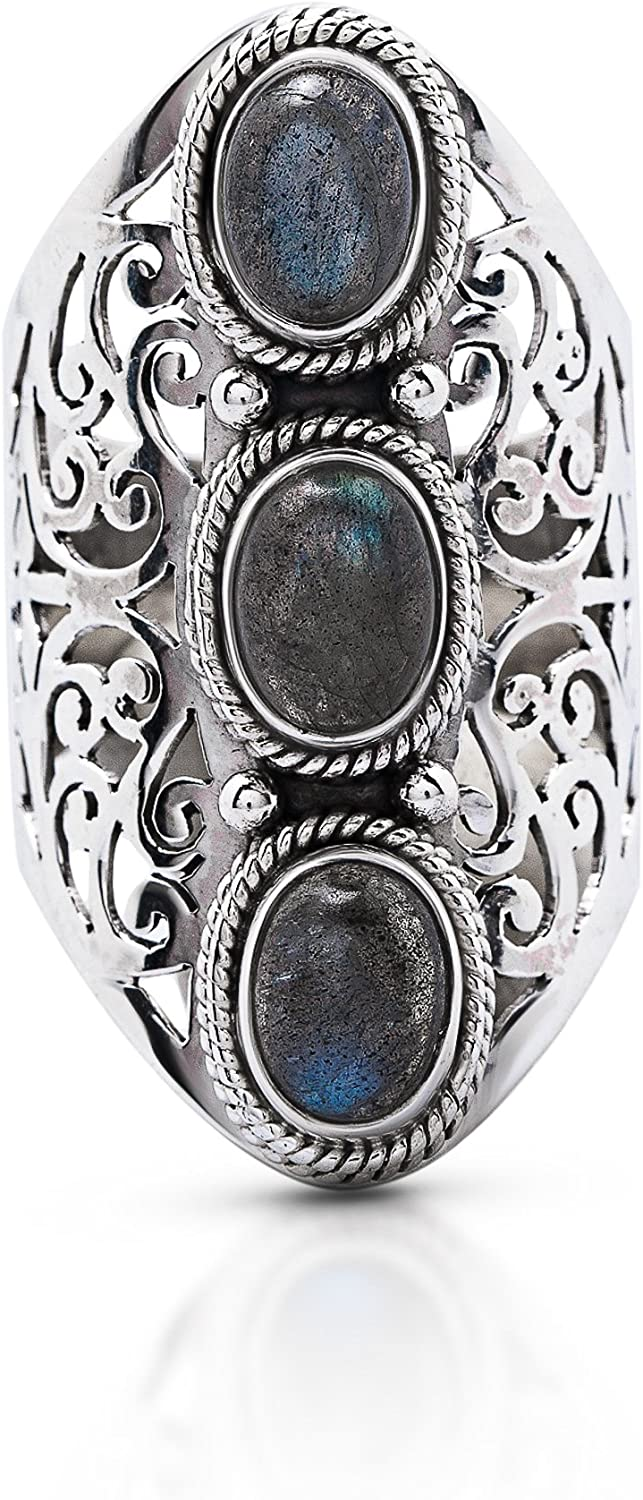Koral Jewelry Labradorite Oval Stone Ethnic Ring 925 Sterling Silver Vintage Tribal Gipsy Boho Look US Size 6 7 8 9 10