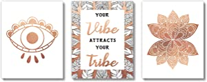 Brooke & Vine - Boho Teen Girl Room Wall Decor Art Prints - (UNFRAMED 8x10) Gold Inspirational Wall Art, Motivational Quotes Posters for Kids, Tween Women Office Bedroom, Dorm, Cubicle, Desk (Good Vibe Tribe)