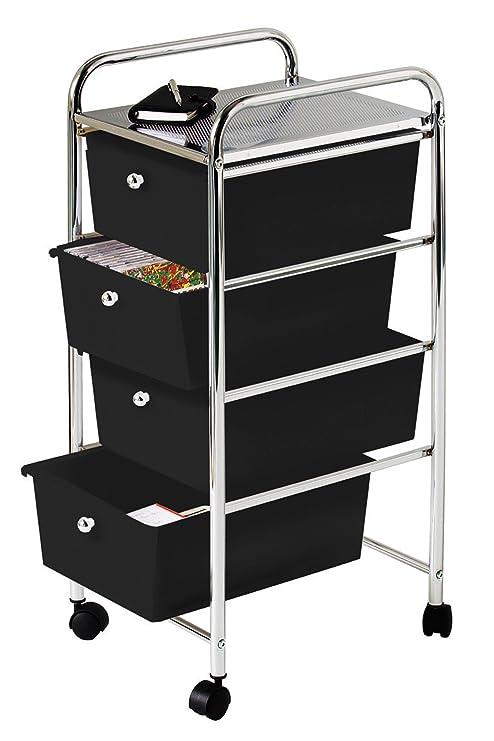 Premier Housewares - Carrito de baño, 4 cajones de plástico, 79 x 39 x 33 cm, Color Negro y Plateado