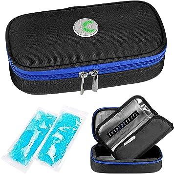 YOUSHARES insulina nevera viaje caso-medicación diabéticos aislado Organizador bolsa de refrigeración portátil para la pluma de insulina y suministros para diabéticos con 2 hieleras paquete de hielo: Amazon.es: Salud y cuidado personal