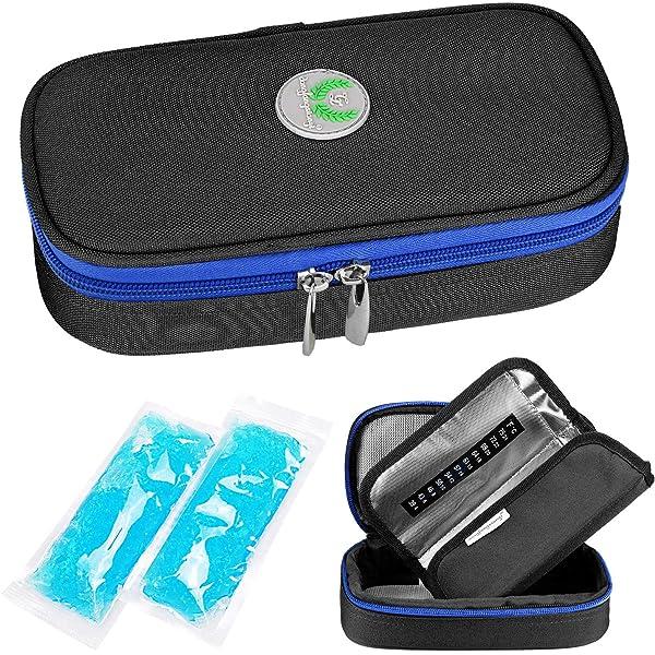 Bolsa de viaje isotérmica para insulina SHBC para Organización de la Medicación para Diabéticos Bolsa aislada para enfriamiento con paquetes de hielo negro: Amazon.es: Salud y cuidado personal