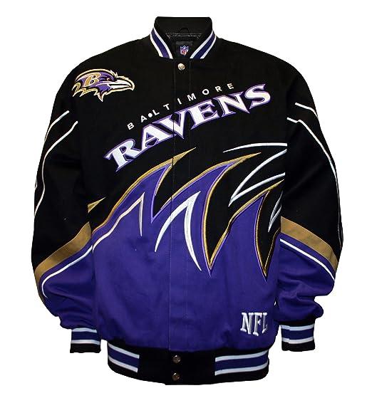 721d745ea Amazon.com   NFL Men s Baltimore Ravens Slash Jacket (Black Purple ...