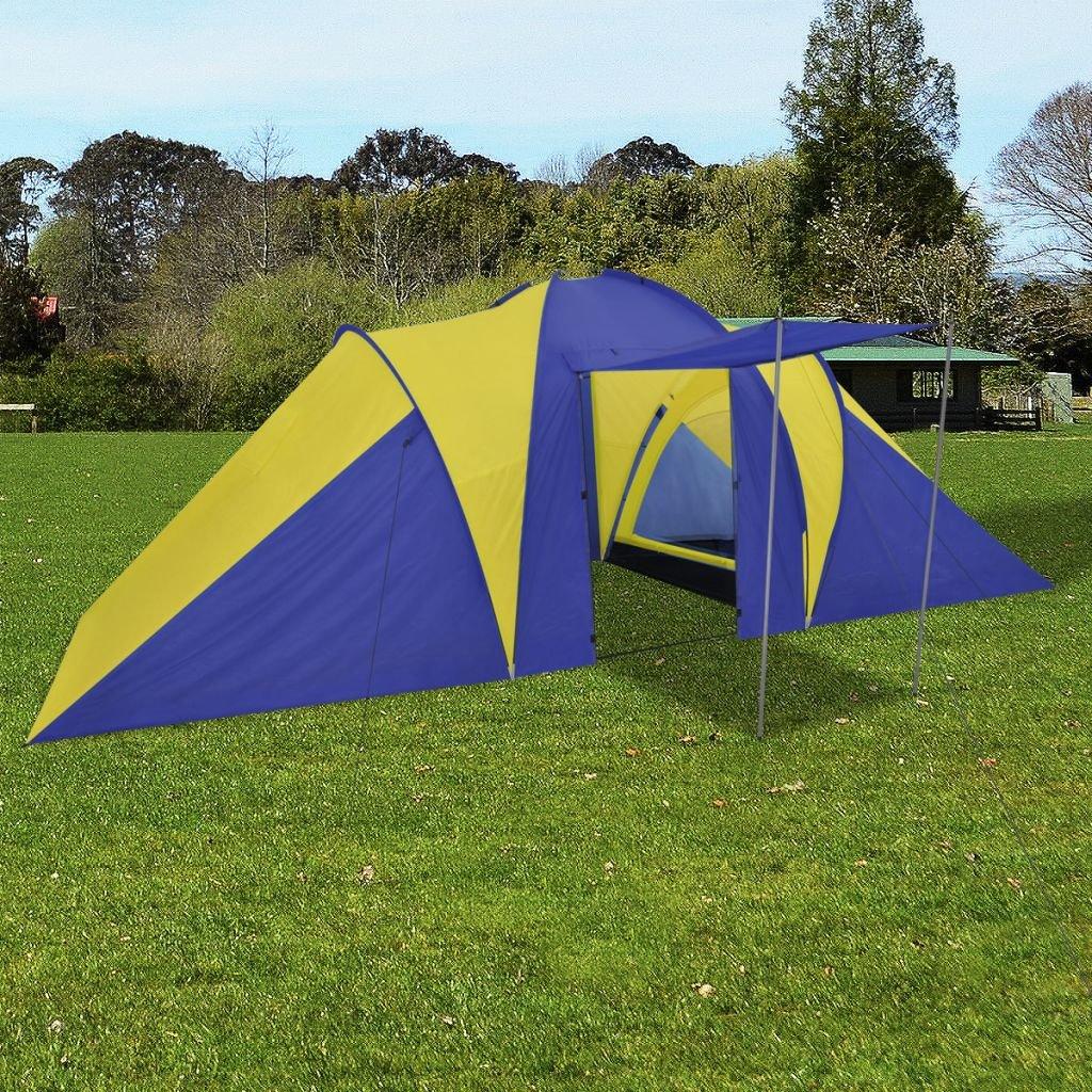FZYHFA Zelt Gelb + Marineblau, aus Polyester, Strandzelt, Faltbar, 580 x 240 x 200 cm, für: 6 Personen