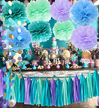 ca137c2553137 Qian's Party Under The Sea Party Supplies/Mermaid Decorations Teal Purple  Mint Tissue Pom...