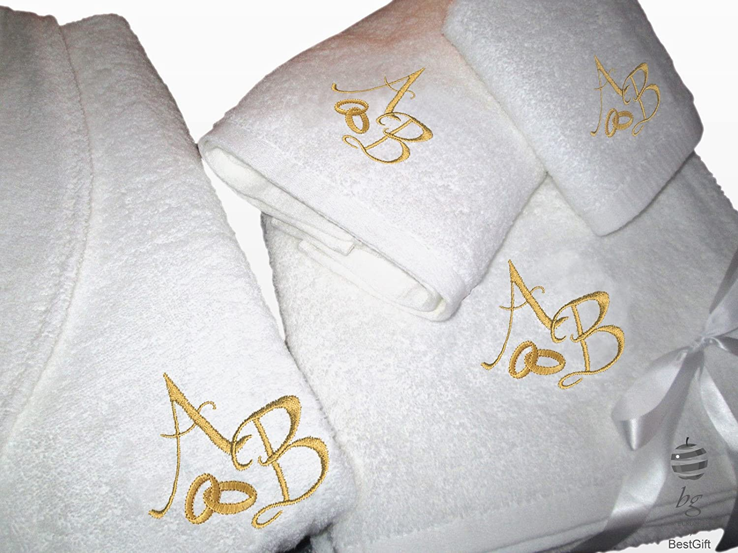 Amazon.com: BgEurope 5 Stars Personalized Wedding Gift Anniversary Set - Bathrobe and Bath Towels with Gold Embroidery (XL): Home & Kitchen