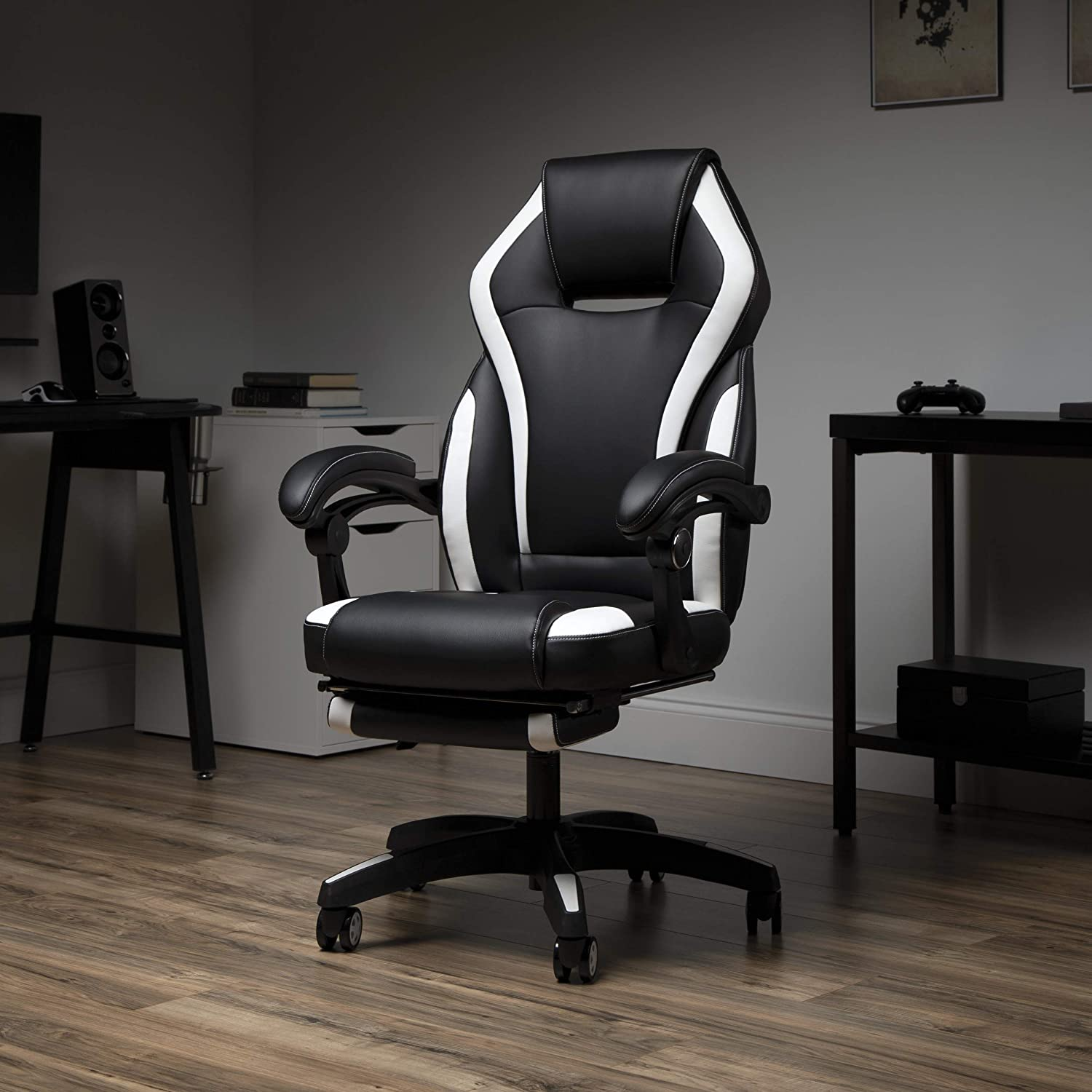Blue Bonded Leather OFM Reclining Gaming Chair with Footrest