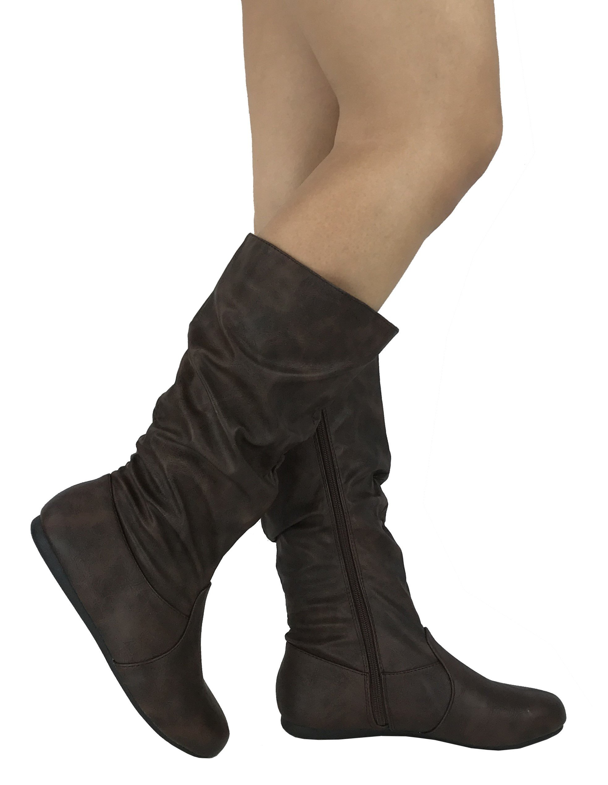 Wells Collection Womens Wonda Boots Soft Slouchy Flat to Low Heel Under Knee High, Brown PU, 7.5