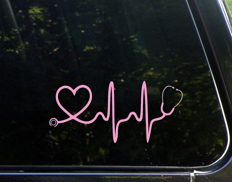 "Sweet Tea Decals Stethoscope Heart (Pink) - 8"" x 3 3/4"" - Vinyl Die Cut Decal/Bumper Sticker for Windows, Trucks, Cars, Laptops Etc."