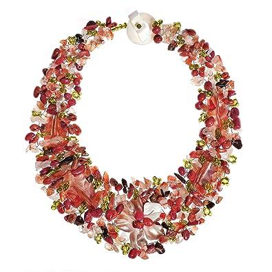 fd530dec7 Amazon.com: AeraVida Secret Autumn Flower Multi Stone Collar Necklace:  Jewelry