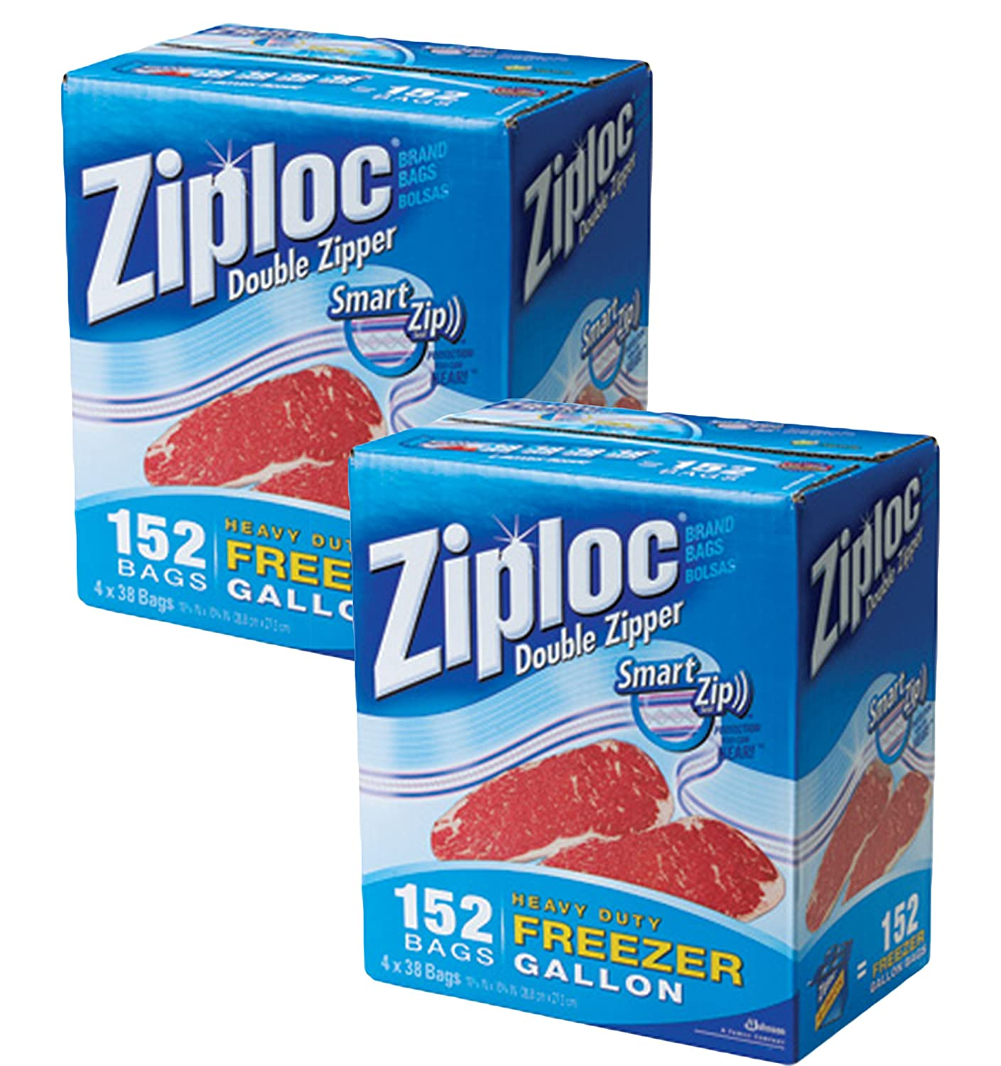 Ziploc Double Zipper Gallon Size Freezer Bags, 152 Count (Pack of 2)…