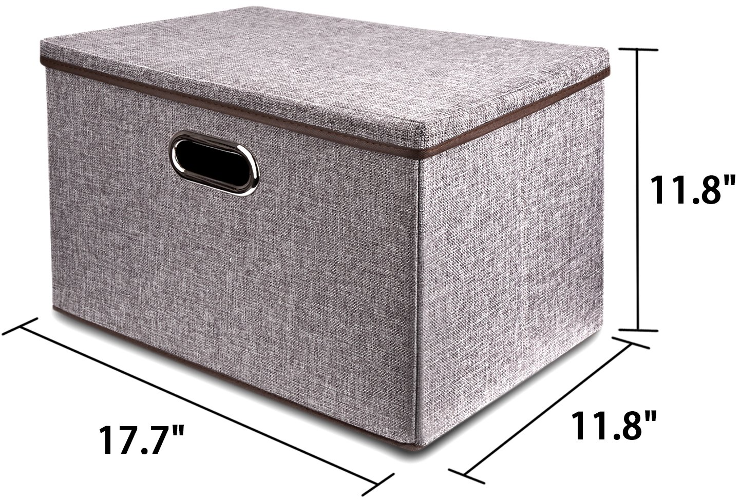 Large Linen Fabric Foldable Storage Container [2-Pack] with Removable Lid and Handles,Storage bin box cubes Organizer - Gray For Home, Office, Nursery, Closet, Bedroom, Living Room by Baseshop (Image #7)