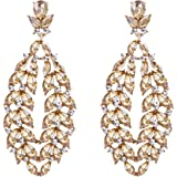 Flyonce Rhinestone Crystal Boho Style Floral Leaf Teardrop Pierced Dangle Earrings