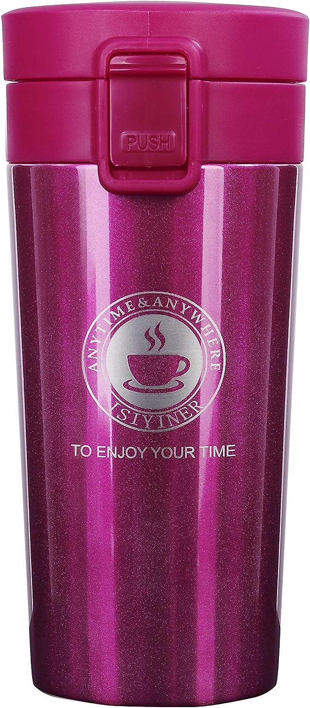 QIMEI-SHOP Termo,Termo de Café Matraz de Acero Inoxidable Aislado Diseño a Prueba de Fugas para Bebidas Frías y Calientes Bebidas té Café Agua 380ML Rosa roja