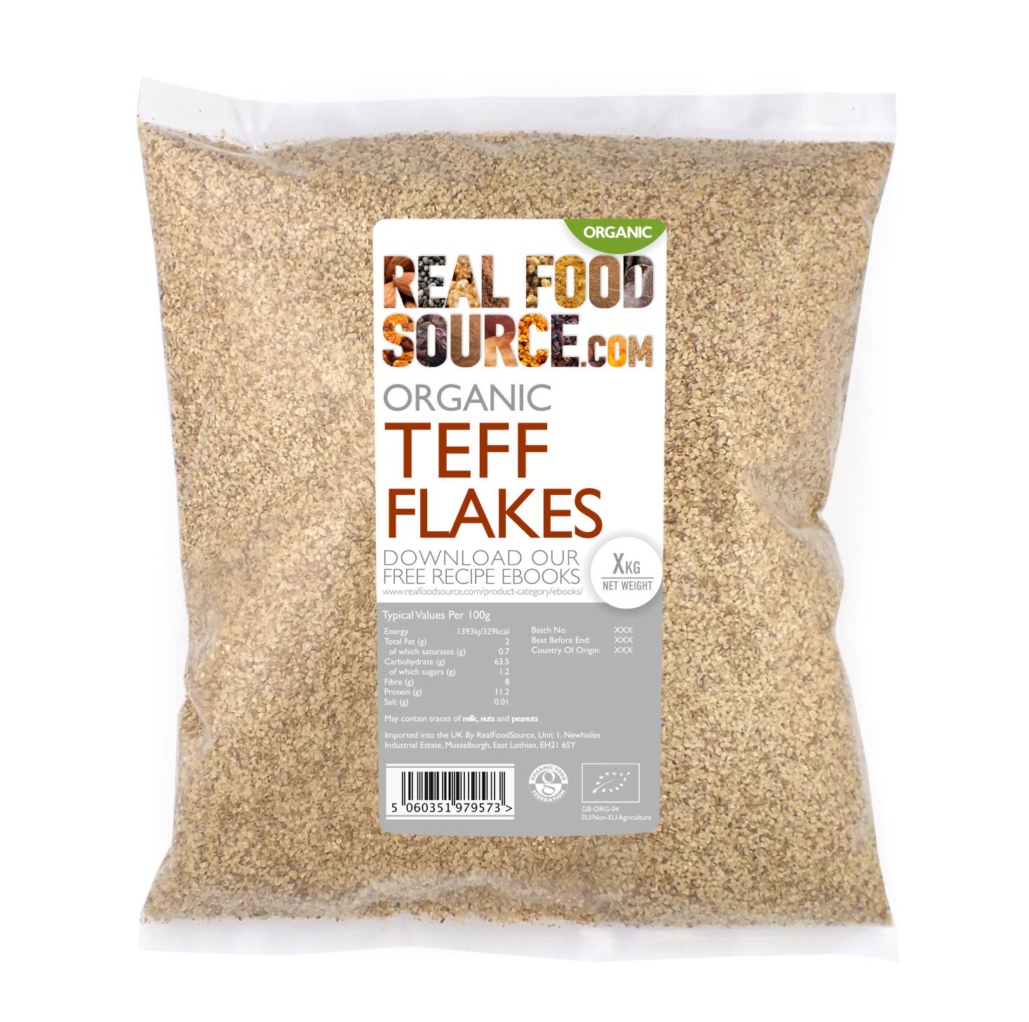RealFoodSource Certified Organic Teff Flakes 500g