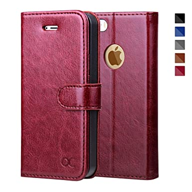 reputable site 6b353 2ee0e OCASE iPhone SE Case, iPhone 5S Case Leather Wallet Flip Case For Apple  iPhone 5/5S/SE Devices - Burgundy