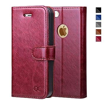OCASE iPhone 5S Hülle, Handyhülle iPhone 5 [Premium Leder] [Standfunktion] [Kartenfach] [Magnetverschluss] Leder Brieftasche
