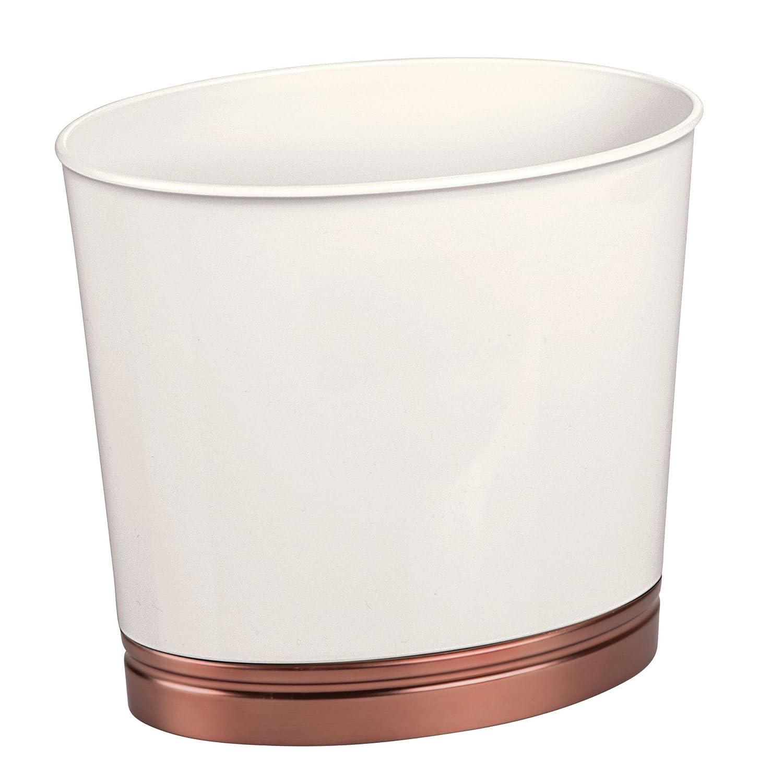 mDesign Cestino spazzatura da bagno – Elegante bidone della spazzatura ovale e contenitore cosmetici – In plastica robusta con finitura spazzolata – vaniglia/bronzo MetroDecor