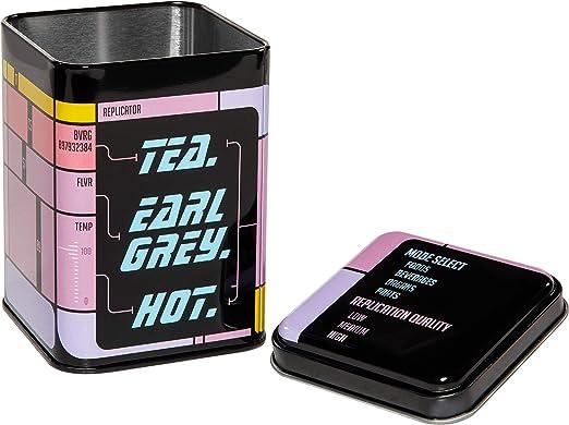 getDigital Tea Tin Tea. Earl Grey. Hot. - Caja-replicador con tapa y de metal para café, té u otras infusiones Con diseño futurista de replicador de Enterprise - 500 ml de capacidad:
