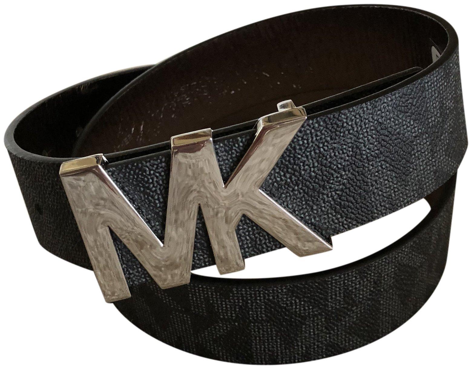 Michael Kors Womens Belt, Signature Logo Wide Belt – Black