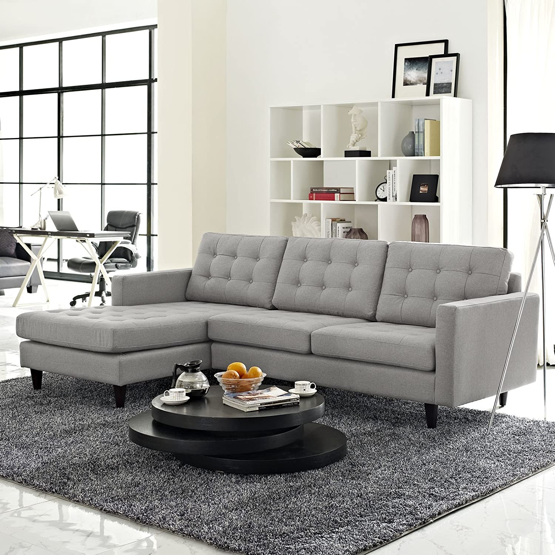 Fantastic Modway Empress Mid Century Modern Upholstered Fabric Left Facing 2 Piece Sectional Sofa In Light Gray Short Links Chair Design For Home Short Linksinfo