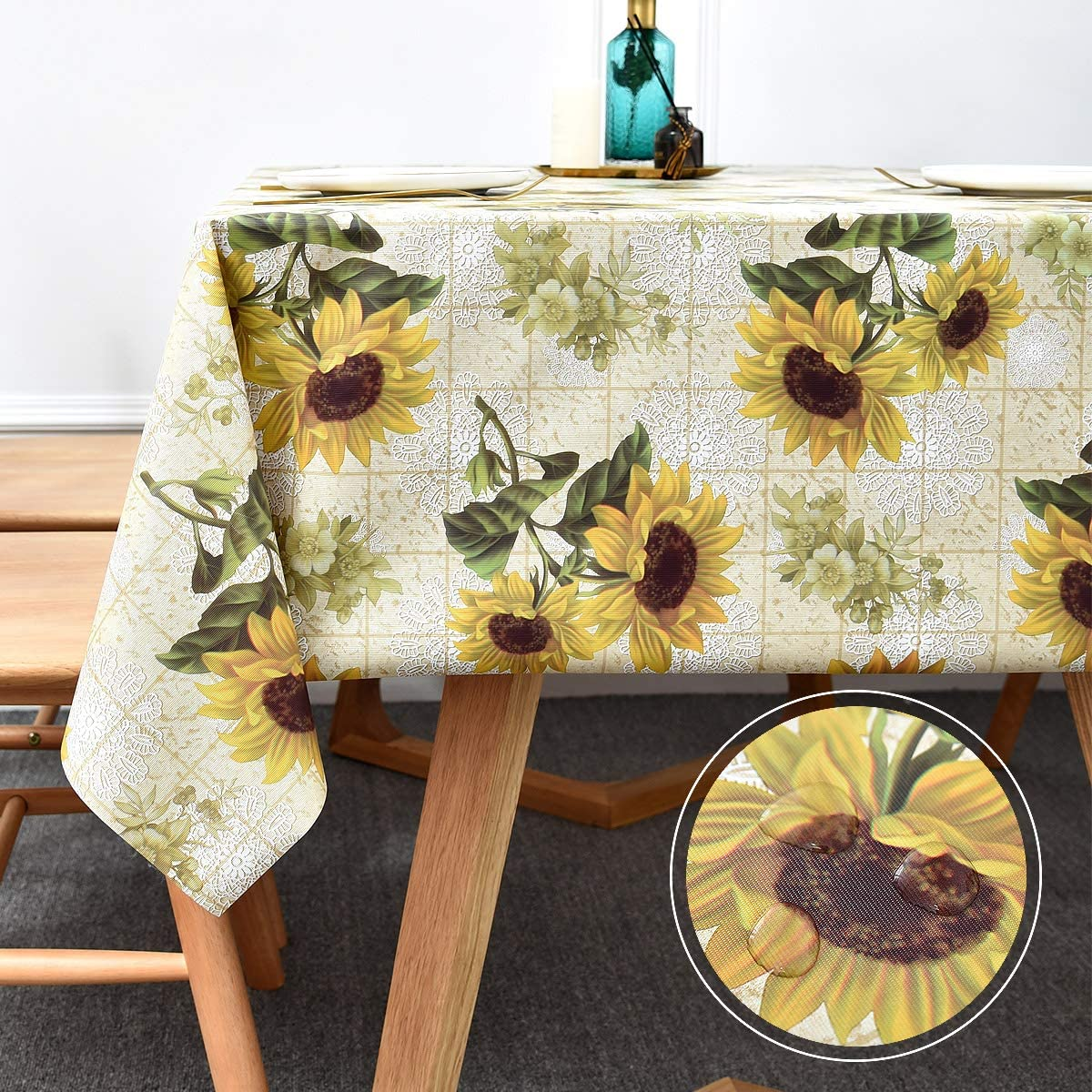 WATERPROOF Laminated LINEN fabric By YARD  Tablecloth 8mm Polka dot dots spots Tablecloth  ykfabrics JLW201: