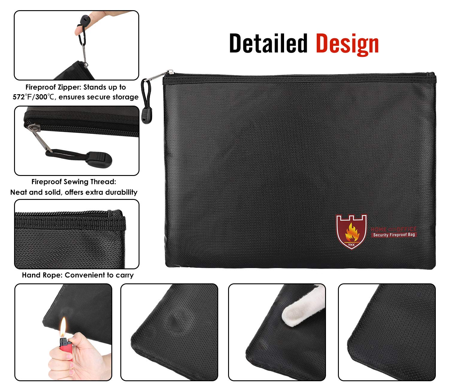 Passport Jewelry Money Black Documents MoKo Fireproof Document Bag A4 Size 13.7/×9.8 Fire /& Water Resistant Envelope File Holder Safe Zipper Cash Pouch for Protecting Valuables