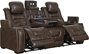 Signature Design by Ashley Game Zone Power Reclining Sofa with Adjustable Headrest Bark