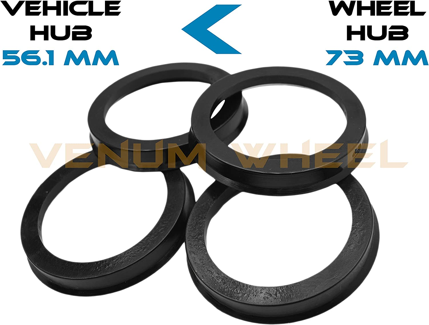 73.1mm OD to 63.4mm ID Circuit Performance Black Plastic Polycarbonate Hub Centric Rings