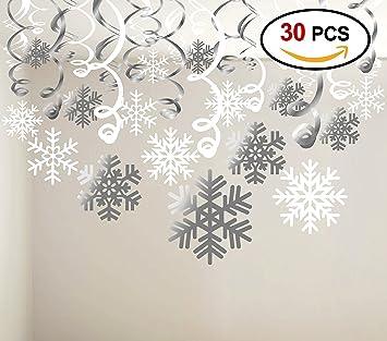Copos De Nieve Para Decorar Fiesta Frozen.Howaf 30piezas Navidad Copos De Nieve Decoracion Navidad Colgando Remolino Adornos De Espirales Guirnalda Techo Para Navidad Invierno Fiesta De