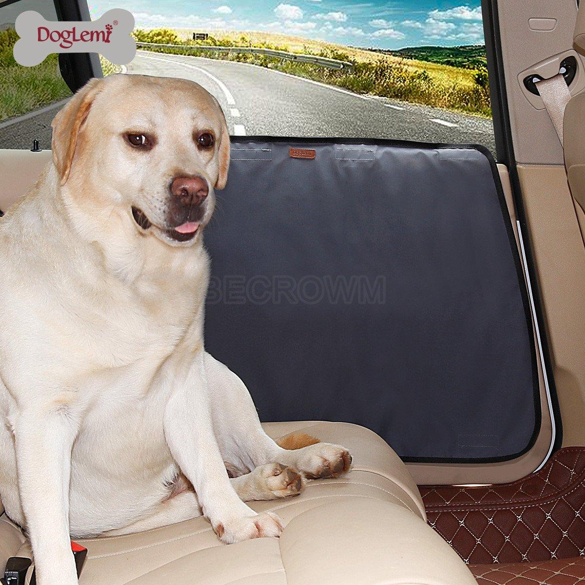 BECROWM EU Waterproof Pet Car Door Cover Vehicle Door Protector Back Seat Doors Two Steps To Install,Beige