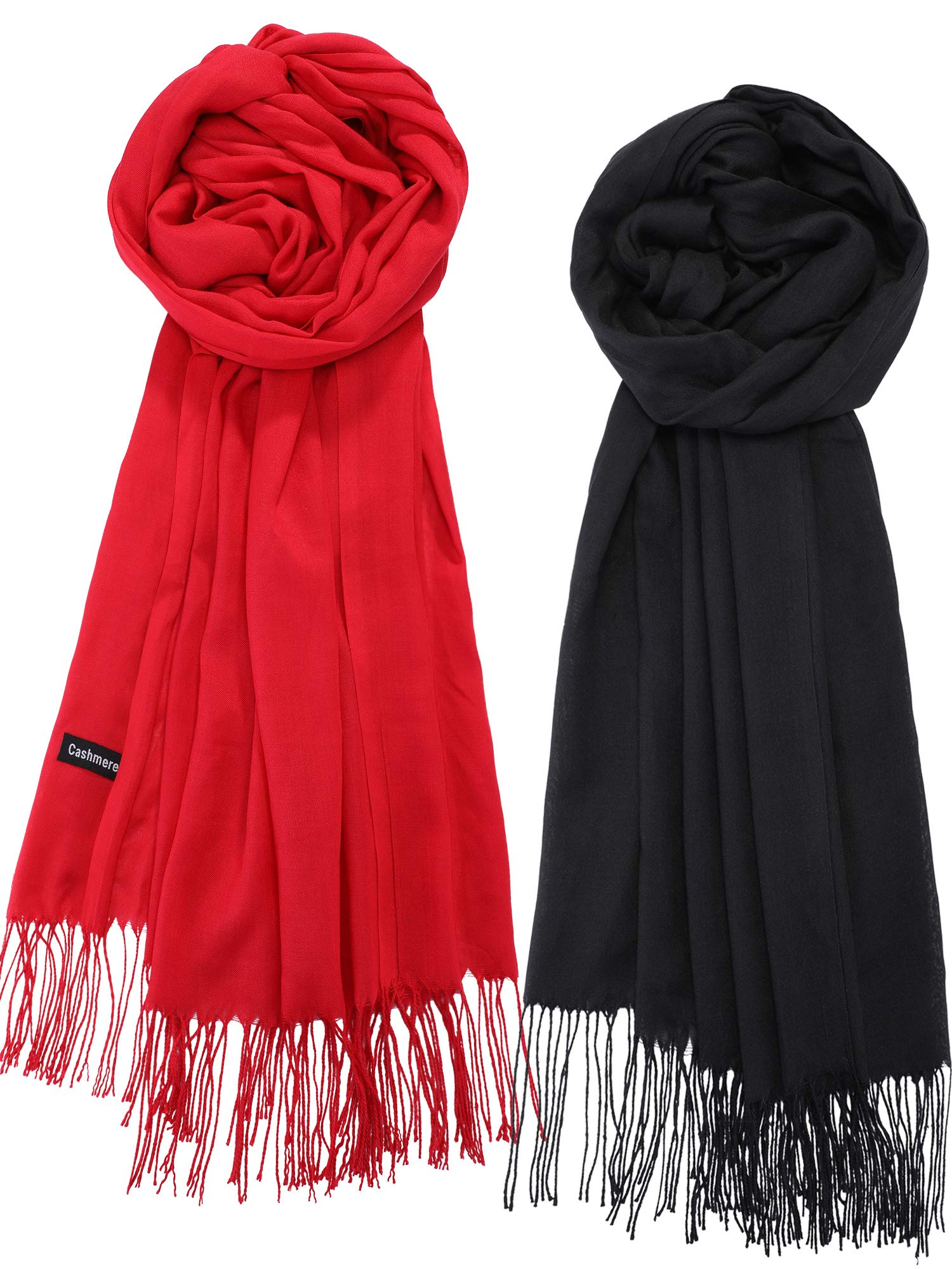 eBoot 2 Pieces Women's Soft Silky Scarf Long Wrap Shawl Cotton Scarves in Solid Color (Black and Red)