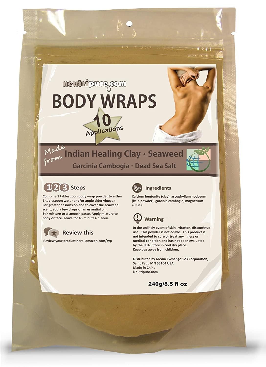 DIY Body Wrap: Spa Formula for Home Use: Seaweed, Healing Clay, Garcinio Cambogia and Dead Sea Salt Neutripure