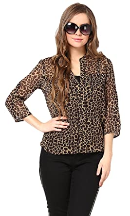Image Unavailable. Image not available for. Colour  The Gud Look Women s  Georgette Animal Print Top 42b4ea874