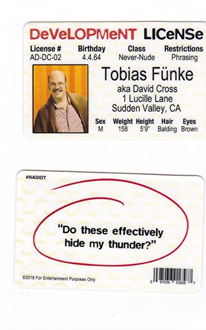 Amazon Arrested Development Fun Fake Id Card Drivers License Of
