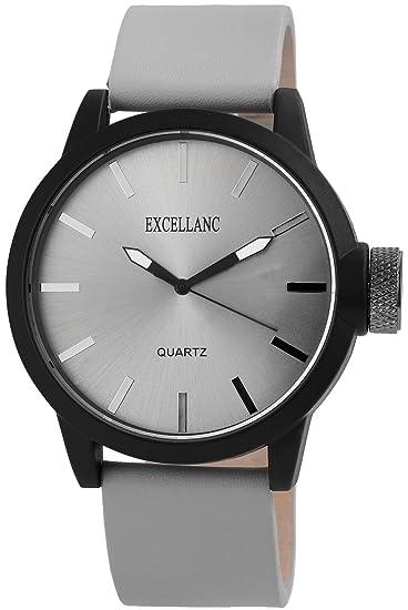 Reloj De Hombre Gris de titanio Look metal cuero reloj de pulsera: Amazon.es: Relojes