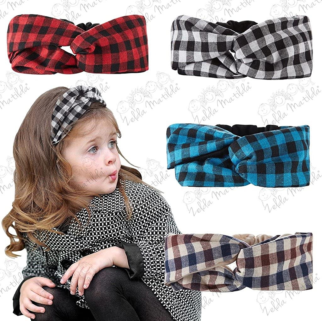 Plaid Turban Knot Girl Headband for Babies and Kids by Zelda Matilda - Baby  Headbands 2 Color - Double Sided - Soft Fabric. Craftsmanship. 83028d18447
