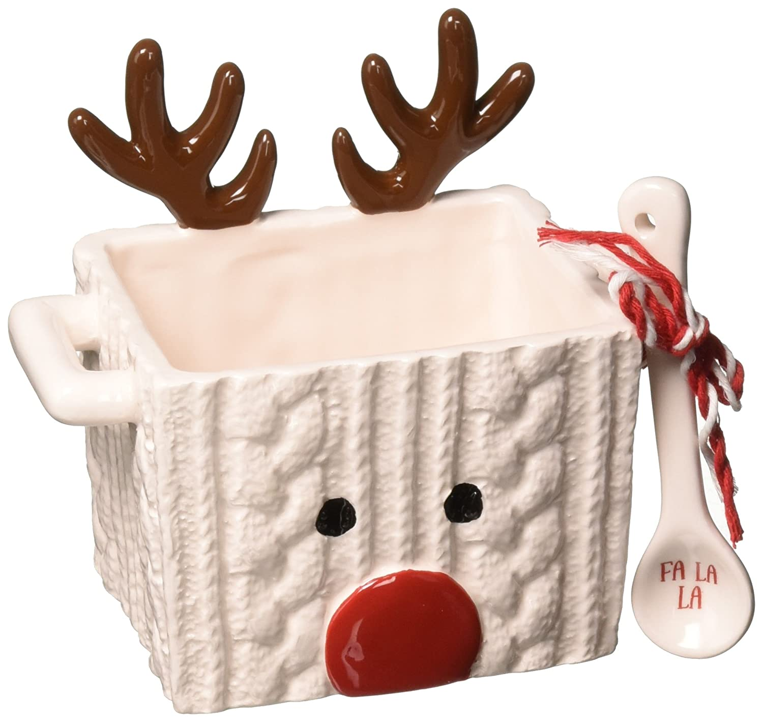 Mud Pie 4855062R Reindeer Candy Dish Set, White