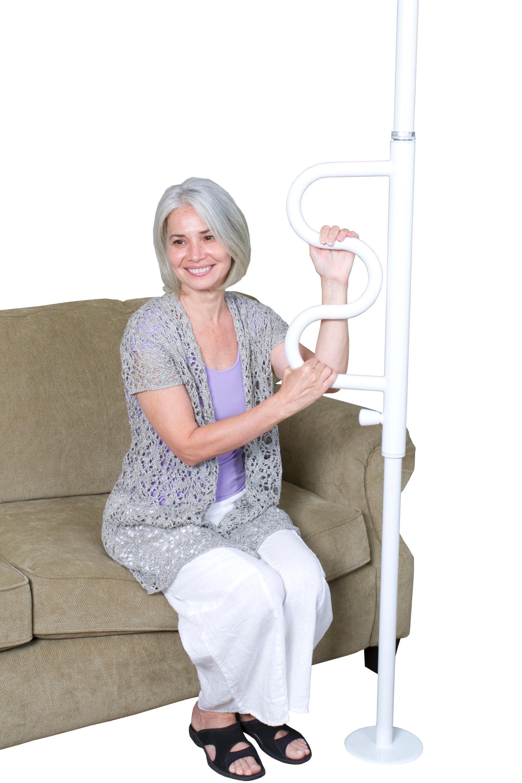 Stander Security Pole & Curve Grab Bar - Elderly Tension Mounted Transfer Pole + Bathroom Assist Grab Bar - Iceberg White by Stander (Image #7)