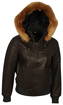e7e6a57f9ac The Jacket Makers Women Brown Hooded Leather Bomber Jacket with Fur ...