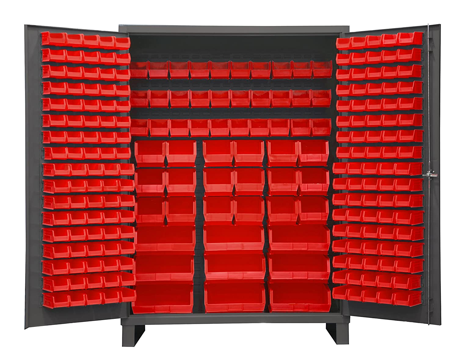 "Durham SSC-227-1795 Lockable Cabinet with 227 Red Hook-On Bins, Flush Door Style, 60"" Wide, 14 Gauge, Gray"