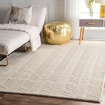 Amazon Com Nuloom Lundberg Hand Woven Wool Rug 8 6 X 11 6 Ivory Furniture Decor